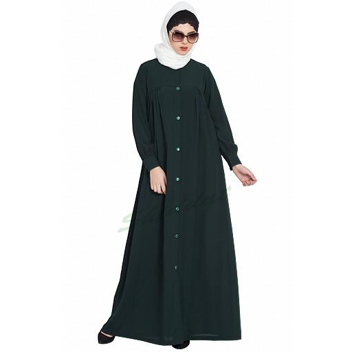 Designer Front open casual abaya- Green