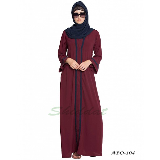 Simple Front open abaya- Maroon