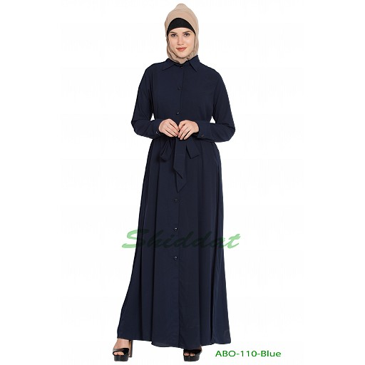 Long Cardigan Abaya- Navy Blue