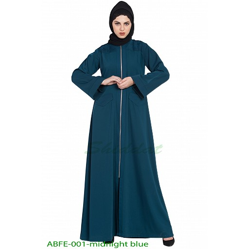 Front open Winter abaya- Midnight Blue
