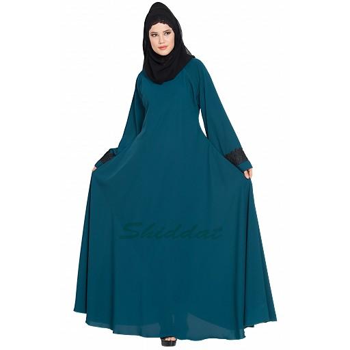 Umbrella abaya with lacework on sleeves- Teal
