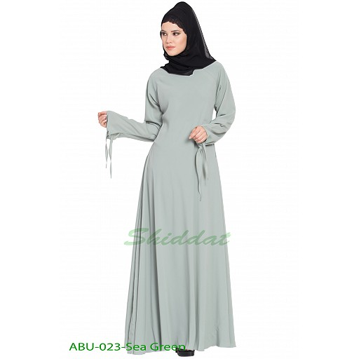 Umbrella abaya with designer sleeves- Sea Green
