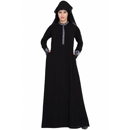 Embroidered Black Burqa with Naqaab & Nose Piece