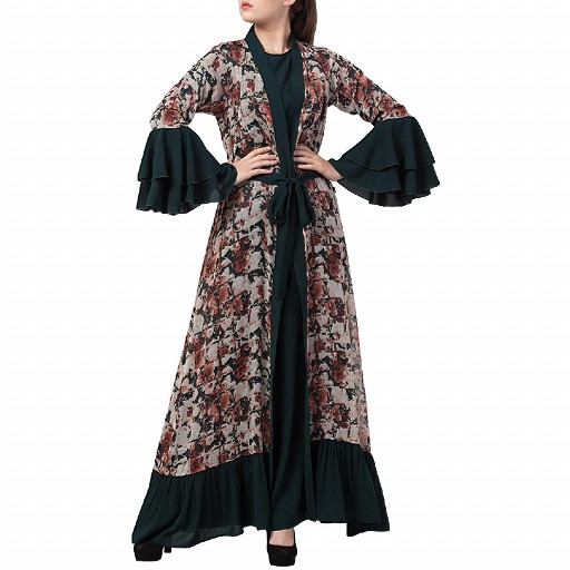 Designer Cardigan with an Inner abaya- Gfreen-Multi