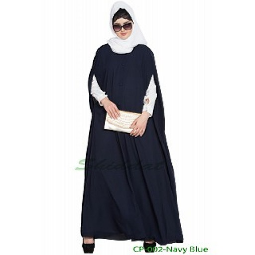 Front open Cape with inner abaya-Navy Blue-Off White