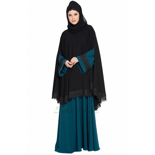 Cape and abaya combo- Black-Teal