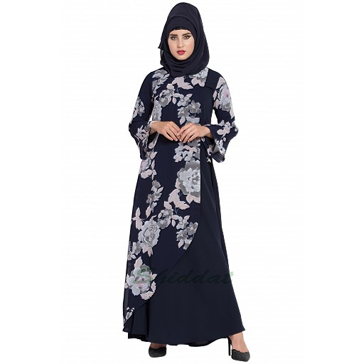 Dress abaya with Floral print- Navy Blue