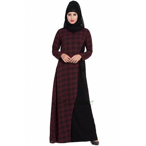 Checkered dress abaya- Maroon-Black