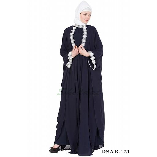 Designer kaftan abaya - Navy Blue Lacey maxi dress