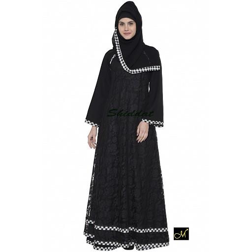 Double layered lace abaya- Black