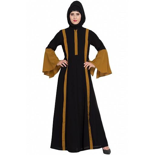Designer abaya in dual Color- golden-black
