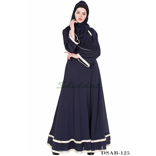Layered Designer abaya - Blue