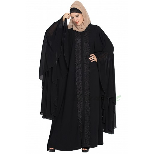 Designer front-open abaya with Lacework-Black