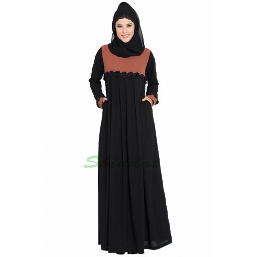 Designer pleated abaya- Black-Rust