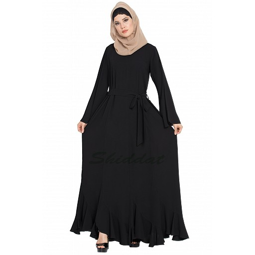 Black abaya with designer bottom in dress style