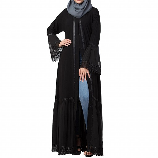 Designer front open Abaya- Black