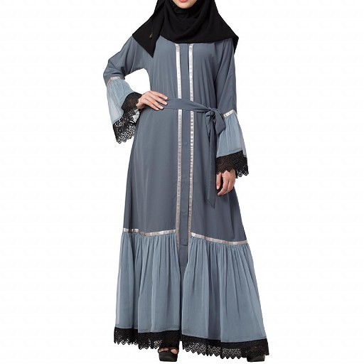 Designer front open Abaya- Grey