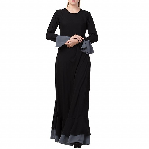 Dual colored Designer Umbrella abaya- Black-Grey