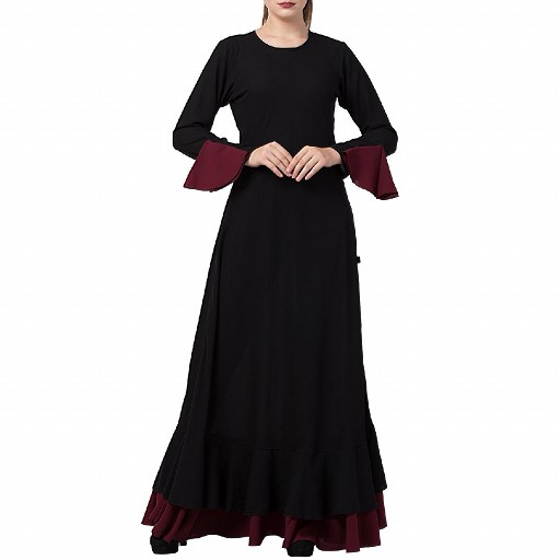 Dual colored Designer Umbrella abaya- Black-Wine