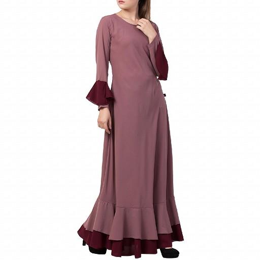 Dual colored Designer Umbrella abaya- Puce Pink
