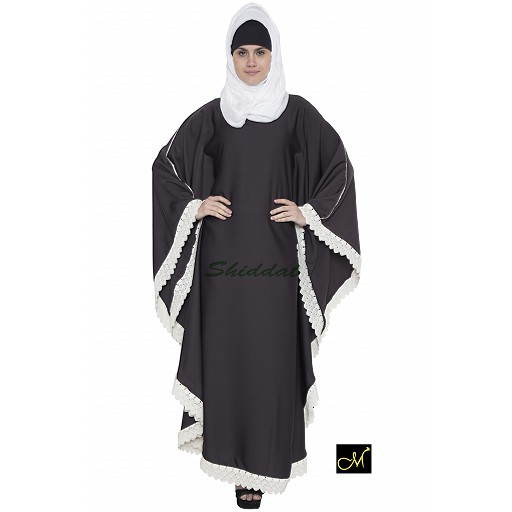 Kaftan Abaya with white lace border