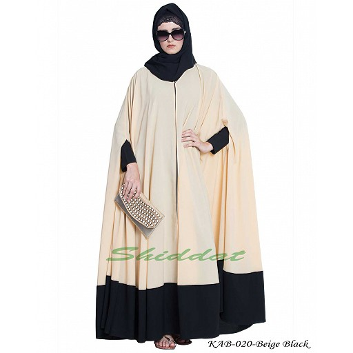 Two pieces designer Irani kaftan- Beige-Black