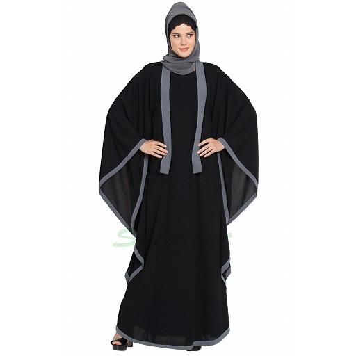 Kaftan abaya with Grey borders- Black