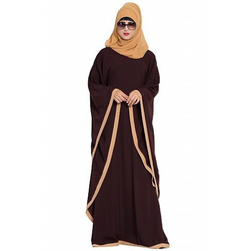 Kaftan abaya in dual color- Brown-Sand