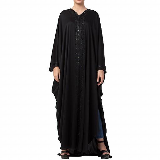 Nida Kaftan abaya with Crystal work- Black