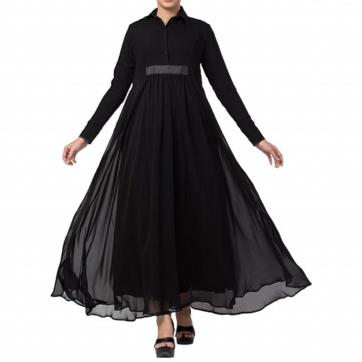 Designer Umbrella cut abaya with dual layer- Black