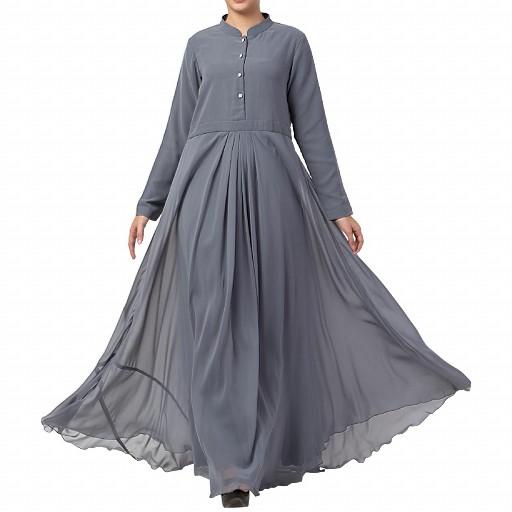 Designer Umbrella cut abaya with dual layer- Grey