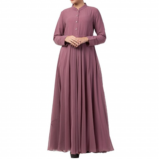 Designer Umbrella cut abaya with dual layer- Puce Pink