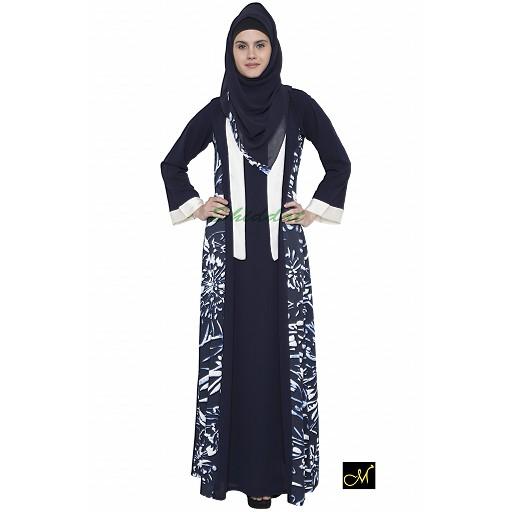 Shrug style Abaya- Blue Print