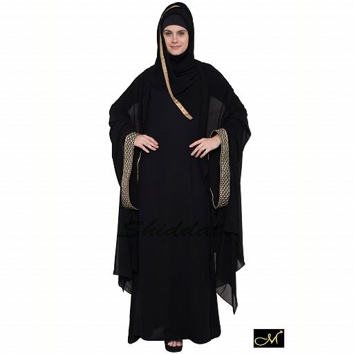 Kaftan abaya with golden borders- green