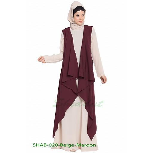 Shrug abaya- Beige-Wine