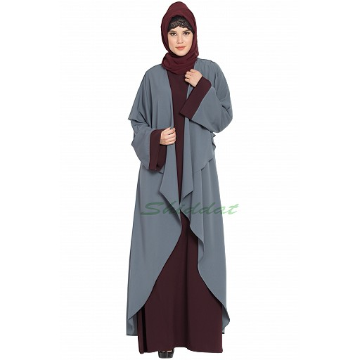 Designer shrug abaya combo- wine-grey