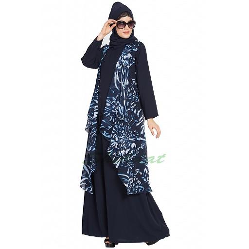 Shrug abaya combo-navy blue print