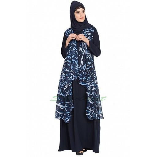 Shrug abaya combo- Navy Blue print
