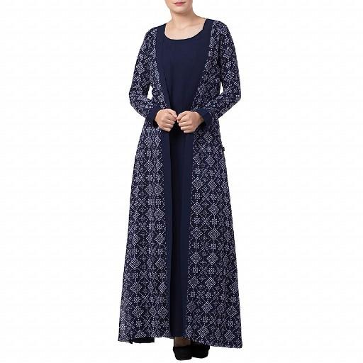Printed shrug abaya- navy blue