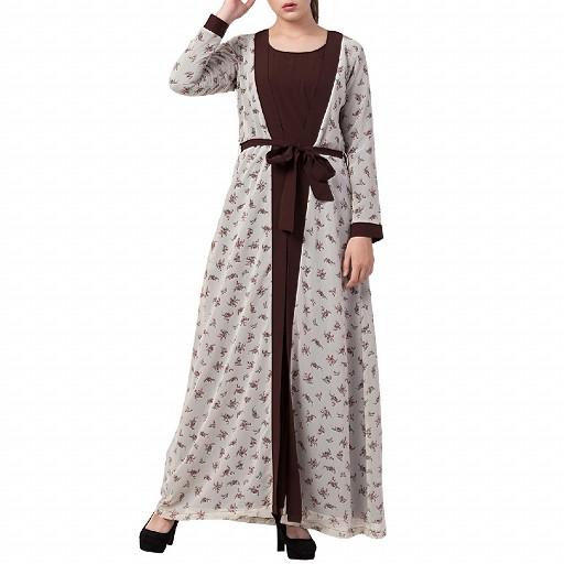 Printed shrug abaya- brown-multi color