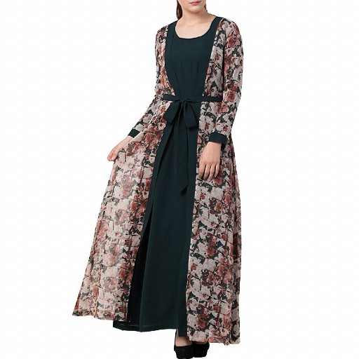 Printed shrug abaya- green-multi color