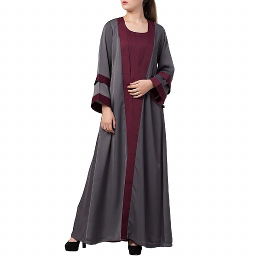 Designer shrug abaya- grey-burgundy color