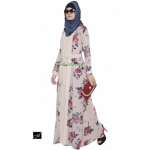 Shrug abaya- beige print