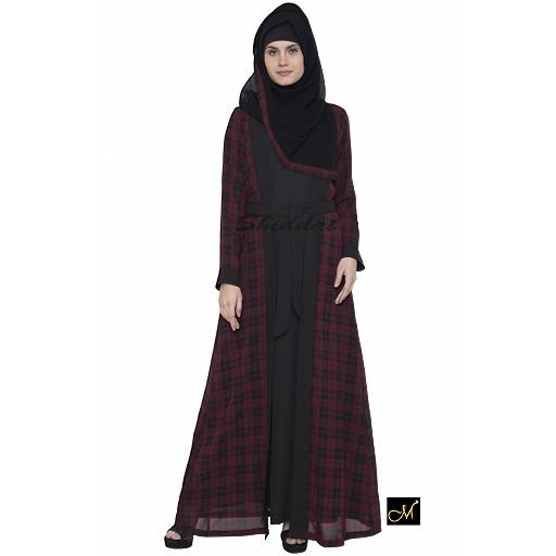 Shrug abaya-black and maroon check