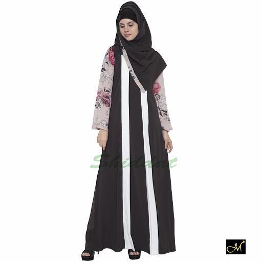 Abaya- dark grey colored with beige Print