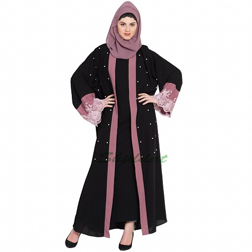 Party wear Dubai abaya- Black-Mauve color