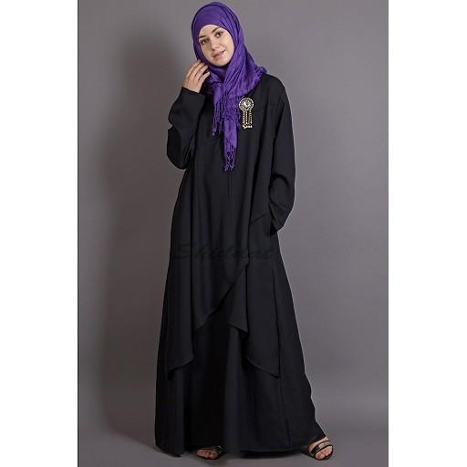 Asymmetrical abaya with Yoke design and panels- Black